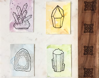 """3x4"""" Watercolour and Ink Gemstone and Crystal Art"""