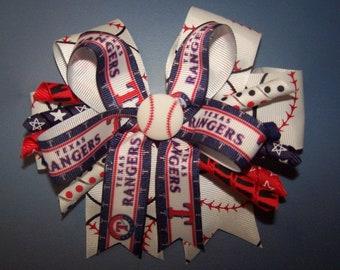 Texas Rangers Hair Bow