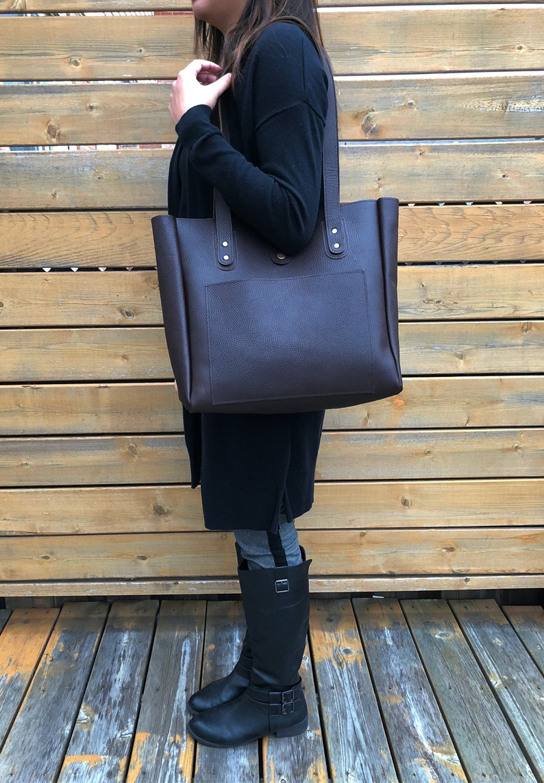 Gifts For Women Laptop Bag Leather Tote Large Bucket Bag Personalized Leather Tote Full Grain Leather Tote Bag Brown Tote With Pocket