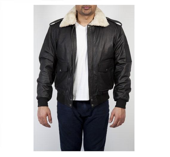 Pilot Leather Jacket Men Aviator Leather Jacket Men Black  9c84b6f00ead