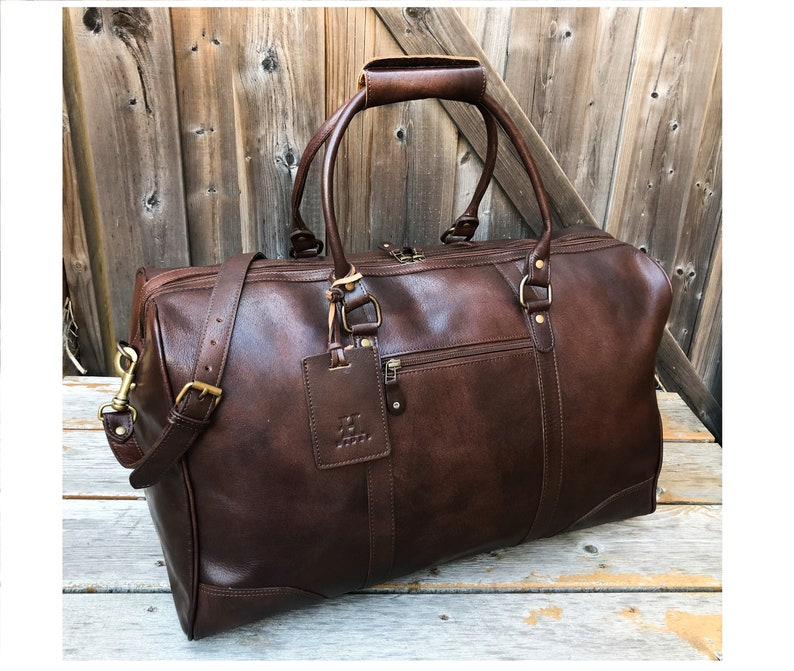 5ea661b837 Leather Duffel Bag Leather Weekender Bag Antique Brown