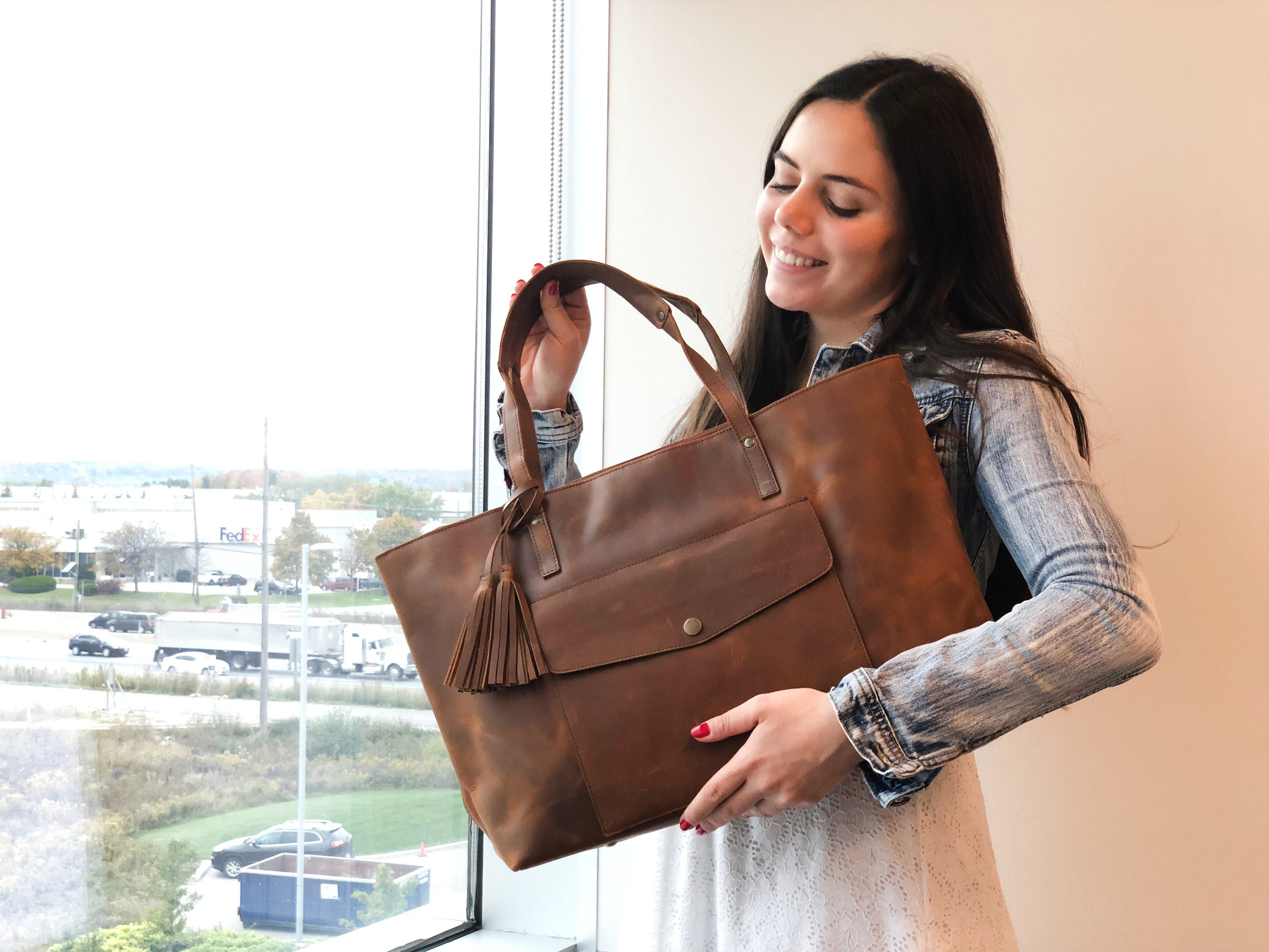 ba5280763fc0 Full Grain Leather Tote Bag Leather Tote With Zipper Tote