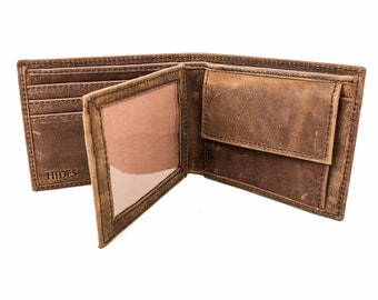 Full Grain Leather Wallet, Personalized Leather Wallet, Distressed Leather Wallet, Personalized Wallet For Men, Leather Change Wallet
