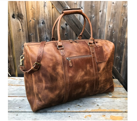 Full Grain Leather Duffel Bag Distressed Leather Weekender   Etsy 24859f7e83