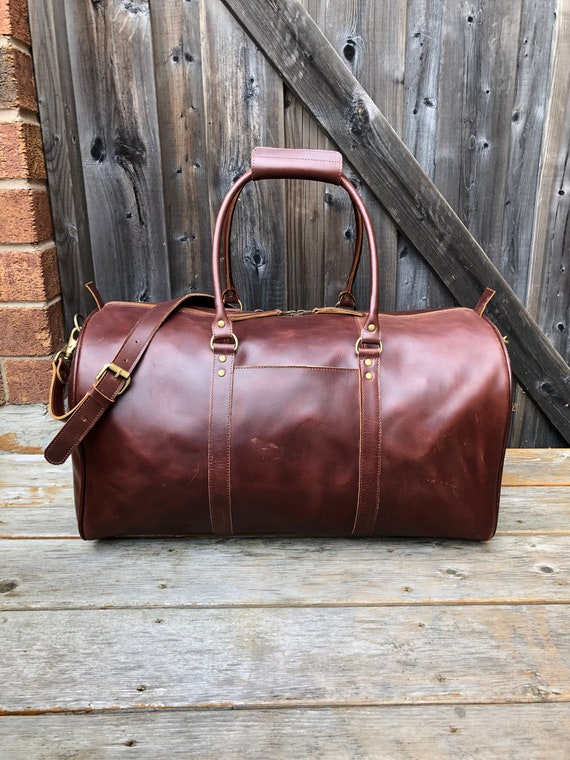 Leather Duffel Bag Leather Weekender Brown Leather Travel   Etsy 9d9ed3b80e