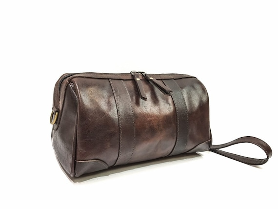 ece46f7b01d4 Full Grain Leather Toiletry Bag Mens Leather Dopp Kit