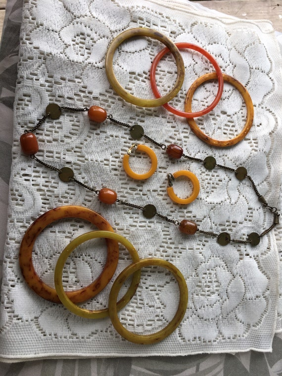 Bakelite Bangles, Necklace and Clip Earrings