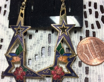 Vintage Gold Tone Double Star Butterfly Cloisonné Earrings