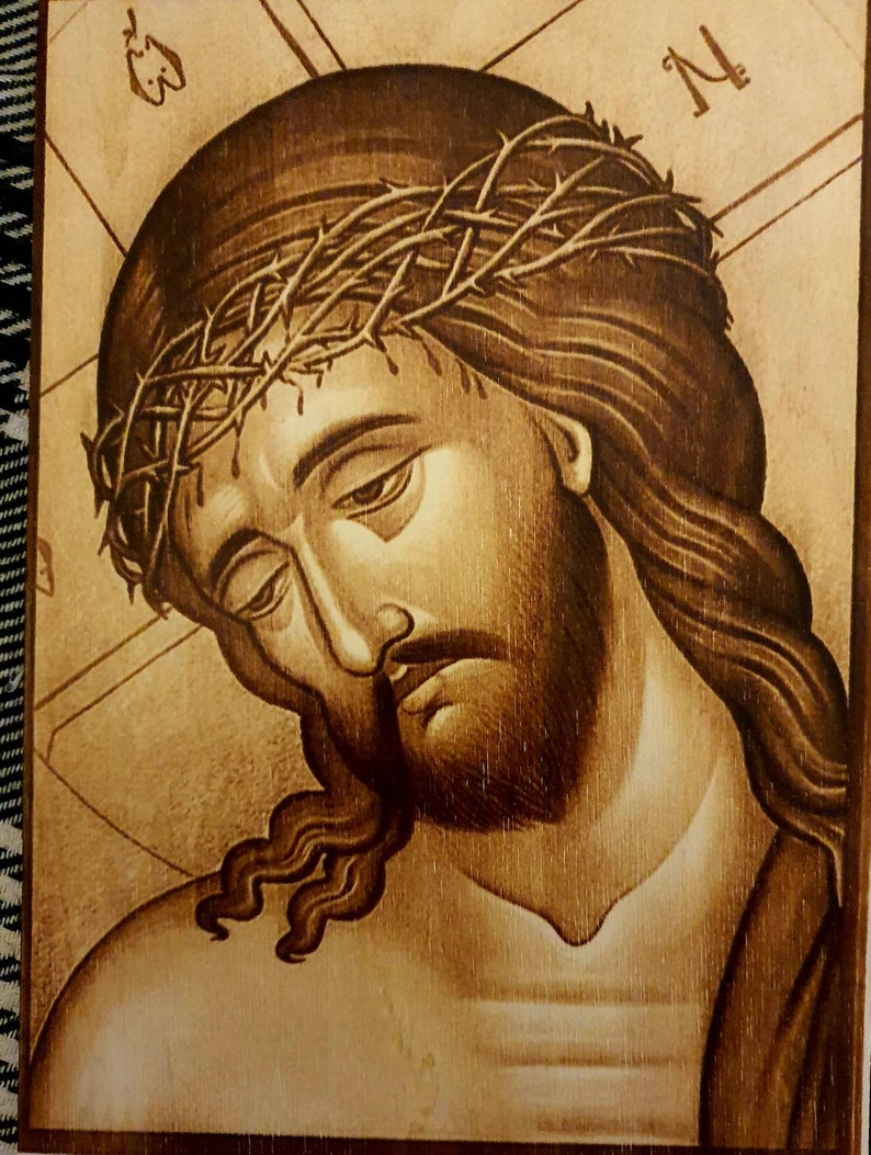 Jesus  Christ The Savior in Crown of Thorns icon image   burned on  wood    pyrography A4 size