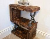 Industrial coffee table side table rustic handmade