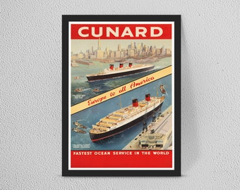 Vintage Old Transport Poster Normandie Trans Atlantic A4 A3 A2 A1