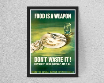 VINTAGE ADVERT DONT WASTE GOOD FOOD A4 POSTER PRINT WALL HANGING