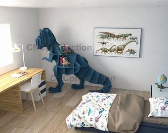 T-REX SHELF - dxf plan laser cutting file, dinosaur home decor interior design, tyrannosaur digital file book shelf