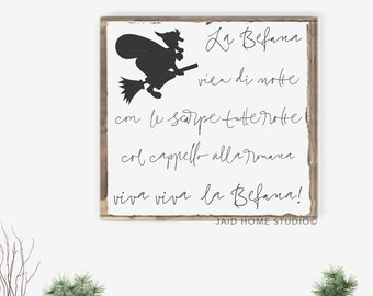 La Befana Italian Christmas Wall Art Signs Decorations Decor Holiday