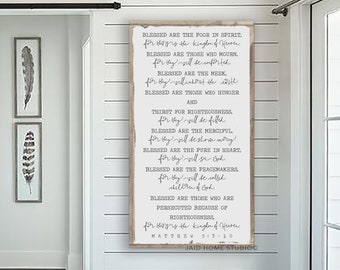 Beatitudes, Matthew 5, Beatitudes Sign, Blessed Are The Peacemakers,  Scripture Signs, Bible Verse Sign, Scripture Wall Art, Large Wood Sign