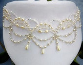 Vintage Wedding beaded necklace - Statement Jewelry from Prom Dress Vintage - Victorian Pearl Choker Necklace in Ivory or White color