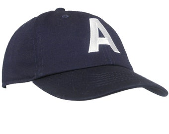 39b3453d823 Toddler Embroidered Navy Initial Baseball Hat Personalized Monogrammed
