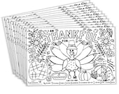Fall Thanksgiving Placemats for Kids (12 Turkey Placemats) | Paper Coloring Activity Paper Table Mats for Children to Write Thankful List