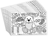 Valentine's Day Placemats for Kids (Pack of 12 Valentine Placemats) | Coloring Activity Paper Mats for Kids Table | Disposable Bulk Set