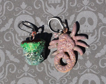 Alien egg and facehugger earrings