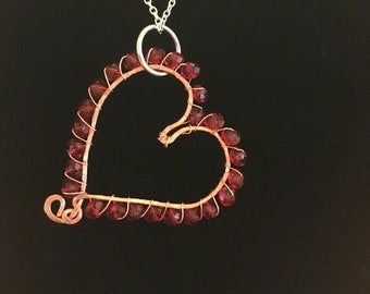 Wire wrapped Heart Necklace