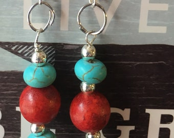 Turquoise , Coral Earrings