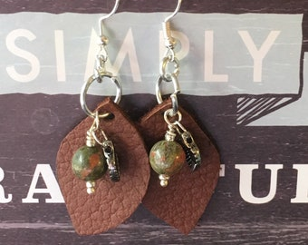 Leather and Unakite Earrings
