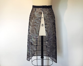 High-Low Black Rave Skirt   Sparkly Music Festival Clothing   Bonnaroo   Burning Man   Made to Order