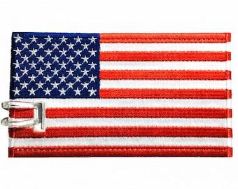 USA Flag Embroidered Luggage tag