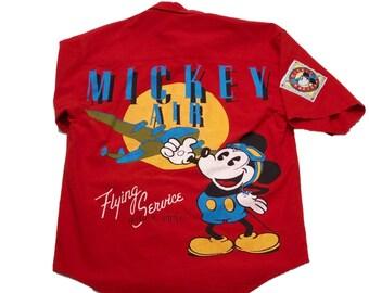 1faffebda Vintage Mickey Mouse Air Red Button Down Baseball Jersey Shirt