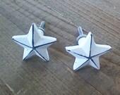 SET OF 2 Star Knobs, Star Decor Handles, White Distressed Dresser Drawer Pulls, Desk Cabinet Handles, 2 quot