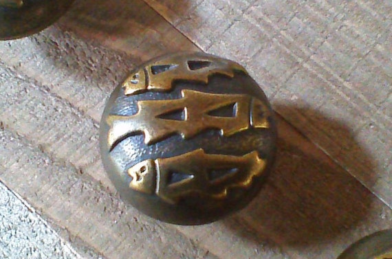 Rustic Antique Brass Drawer Knobs Fish Knobs Southwest Etsy