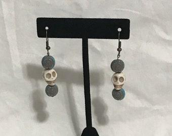 Stone Skull Dangle Earrings