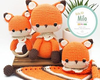 Amigurumi Baby Kit Fox Milo (fox, baby blanket and rattle) / Tarturumies Crochet Pattern PDF •  (Spanish - English - Portuguese) •