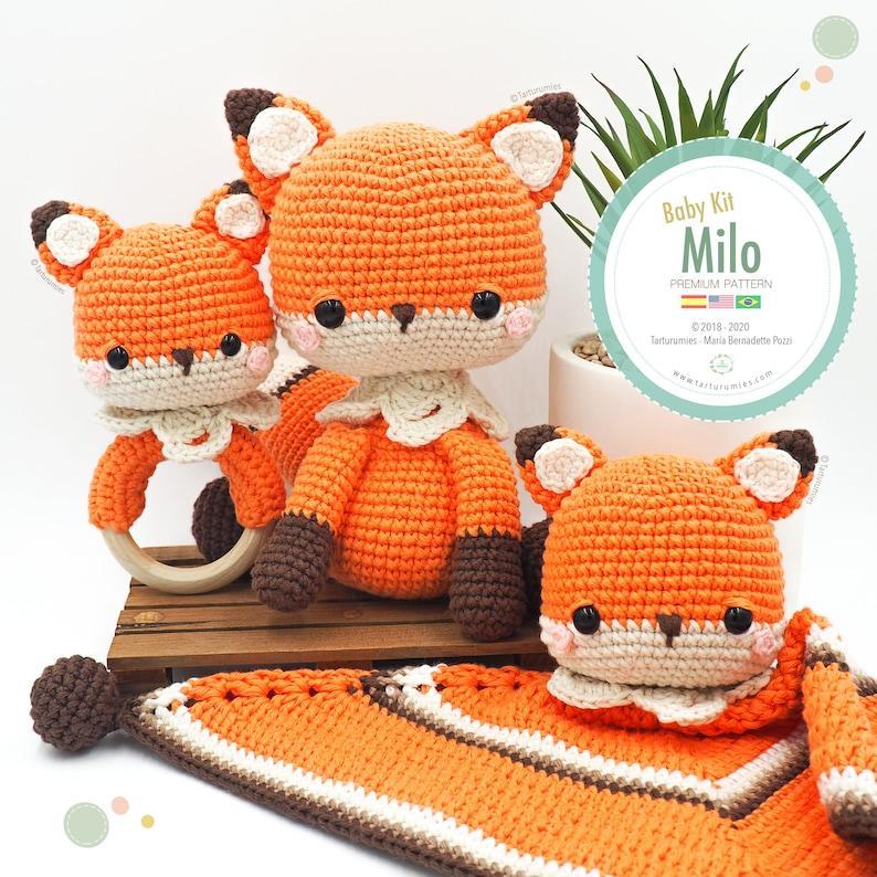 Amigurumi Baby Kit Fox Milo fox baby blanket and rattle / image 0