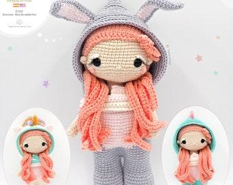 Amigurumi Lara Doll - Costumes: Bunny, Unicorn and Dinosaur • Tarturumies Crochet Pattern PDF (Spanish - English)