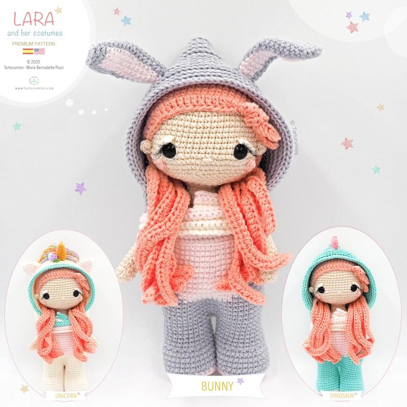 Amigurumi Lara Doll  Costumes: Bunny Unicorn and Dinosaur  image 0