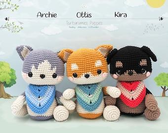 Amigurumi Puppies Husky - Shiba Inu - Rottweiler / Tarturumies Crochet Pattern PDF • Archie, Ottis and Kira