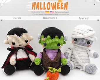 Amigurumis Halloween Kawaii - Dracula, Frankenstein, Mummy • Tarturumies Crochet Pattern PDF (Spanish - English)