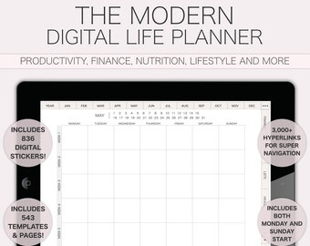 Interactive Digital Planner UNDATED, Minimal Planner, Daily Agenda, Modern Planner with Hyperlinks, GoodNotes Notability iPad Planner