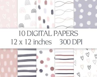 Doodle Digital Papers, Boho Digital Paper Pack, Hand Drawn Patterns, Digital Paper Backgrounds, Digital Scrapbooking, Commercial Use