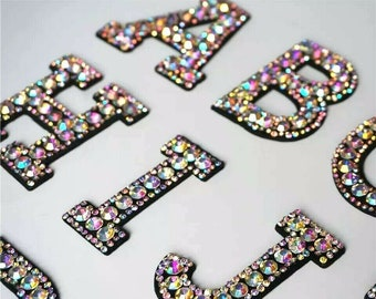 Rhinestone Sparkle Letter Patches Iron On  Sew on Alphabet Embroidery Clothes