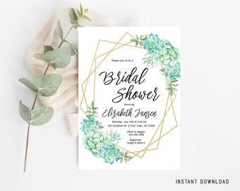 Bridal Shower Invitation, Floral Bridal Shower, Gold Frame, Geometric, Editable Bridal Shower, Instant Download Bridal, Succulent Wedding