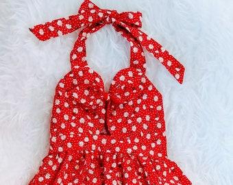 Daisy Dress | Red Floral Bow Dress| Daisy Summer Dress