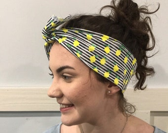 Lemon tie top headband, tie top headband, bow headband, tie headband, lemon turban, lemon bow headband, sunshineandlace heaband