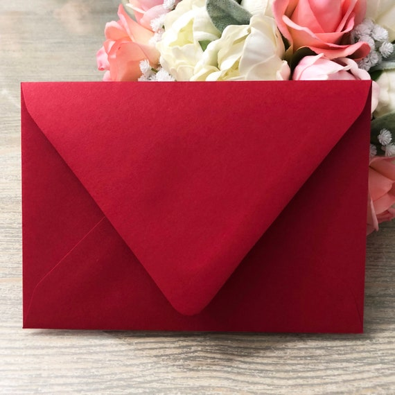 50 red euro flap envelopes choose from a1 envelopes a2 etsy