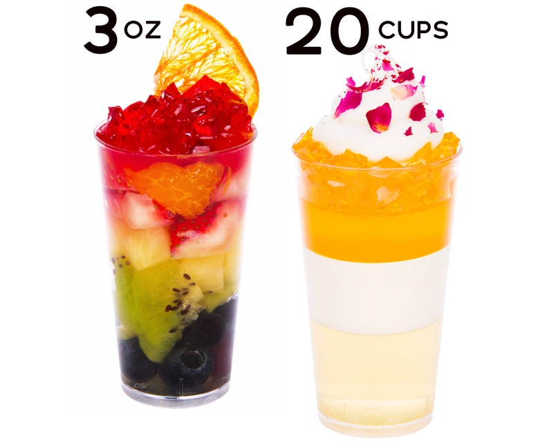 2eec630e7288 3 oz Mini Dessert Cups 20pcs Appetizer Bowls, Disposable Tasting Glasses,  Clear Plastic Shooters, Small Tumblers, Wedding Catering Supplies