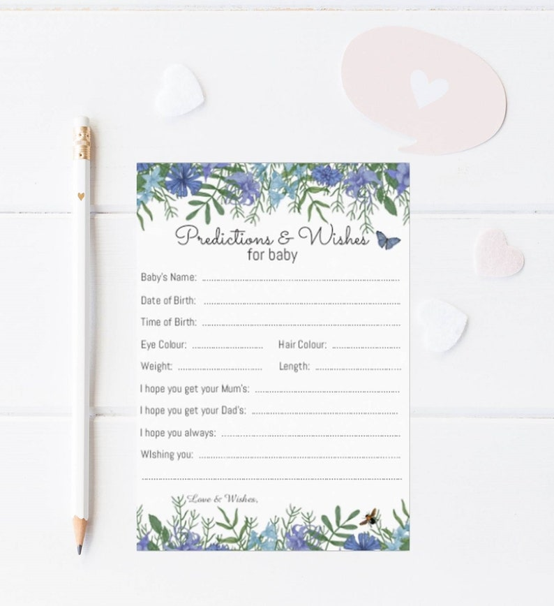 10 Blue Floral Predictions Wishes Cards Baby Shower Games 14.8cm x 10.5cm 300gsm