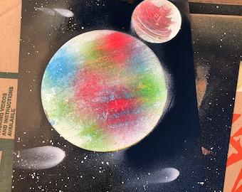 Custom planet spray paint art