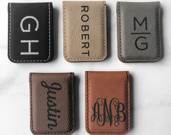 Doily Pattern Genuine Leather Money Clip Personalized